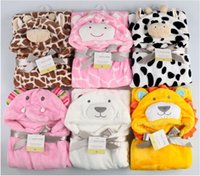 Wholesale Hooded Baby Towels - Cute 2017 Kids Animal Bathrobe Baby Bath Towels Fleece Stock Cheap Poncho Hooded Beach Towel Cow Cartoon Swim Towels Wrap Blankets