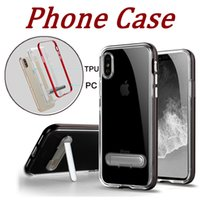 Wholesale Iphone Black Scratch - Kickstand TPU With Hard PC Frame Cases With holder Protective Ultre thin Scratch Resistance For IPhone X 6 6s 7 8 plus Cell Phone Cases