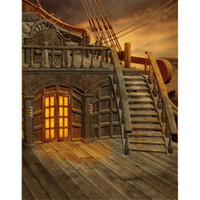 Barato Fundo De Fotografia De Madeira-Kids Stage Photography Backdrop Navio pirata com escadas Sunset Scenery Janela e piso de madeira Vintage Children Photo Background for Studio