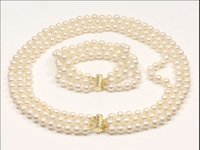 3 ROW 8-9MM AAA WHITE PEARL HALSKETTE, ARMBAND 14K GOLD CLASP 18