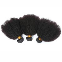 afro curl saç uzantıları toptan satış-8A Brezilyalı Bakire Insan Har 4B 4C Insan Saç Uzatma 8A brezilyalı Sapıkça Kıvırmak Bakire Saç 3 Adet Afro Kinky Kıvırcık İnsan Saç Dokuma