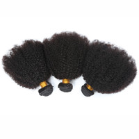 Wholesale Afro Kinky Human Hair Extensions - Brazilian 4B 4C Human Hair Extension 8A Brazilian Kinky Curl Virgin Hair 3Pcs Afro Kinky Curly Human Hair Weave