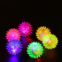 Wholesale Small Light Up Toys - Flashing Light Up Spikey High Bouncing Balls Novelty Luminous Elastic Ball Small Size Plastic Cement Pets Toy ZJ0409