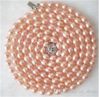 Wholesale plant rice for sale - 7 mm Natural Rice Shape Pink Akoya Cultured Pearl Necklace quot