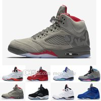 Wholesale Color Thread For Leather - Classic retro 5 basketball shoes white cement black metallic red blue suede Oreo sneakers Grape color bel air Oreo for men women size 36-47