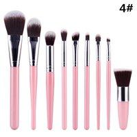 Wholesale Mini Kabuki - Sixplus 9pcs Cosmetics Brushes 2017 New Trend Kabuki Mini Blush Foundation Eyeshadow Contour Brushes Set Makeup Brushes Portable