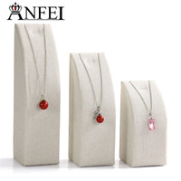 Wholesale Linen Necklace Displays - ANFEI high-grade Linen display shelf Necklace display shelf jewelry display stand for jewelry organizer packaging 3pcs