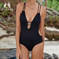 Wholesale Sexy Thong Beach Woman - 2017 Sexy Solid 1 High Cut Monokini Thong Beach Bath Swim Suit Trikini Female Large Plus Size Swimwear Women One Piece Swimsuit