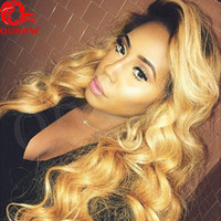 Wholesale Human Wigs For White Women - Ombre 1B 27 Human Hair Wig For White Women Ombre Human Hair Wigs Virgin Body Wave Human Hair Ombre Blonde Wig Bleahced Knots