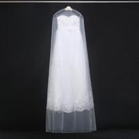 weiche netzkleider großhandel-160 cm 180 cm Transparent Hochzeitskleid Staubschutz Weiche Tüll Kleidersäcke Brautkleid Kratzfest Netto Garn Tasche 20 stücke ZA1822