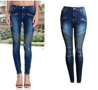 Wholesale Patchwork Womens Denim Jeans - 2017 Womens Fashion Punk Motorcyle Patchwork Stretch Slim Fit Ripped Denim Pants Skinny Jeans Woman High Waist Plus Size pencil Jeans
