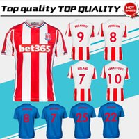 Wholesale Hot Sale Home - 2018 new Stoke City Home red Soccer Jersey 17 18 Stoke City Away blue soccer shirt short sleeve Football uniforms hot sales