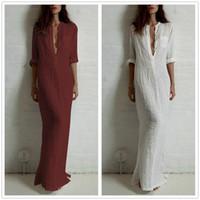 Wholesale Linen Dresses Large - Large Size Woman Casual Long Dress 2017 Autumn Woman Fashion Solid Color Loose Sexy Deep V Neck Three Quarters Sleeve Linen Dress