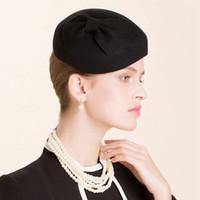 Wholesale Soft Winter Beret - Black Trendy Womens Bowknot 100% Soft Wool Felt Beret Top Street Classic Pillbox Hat Cap A455