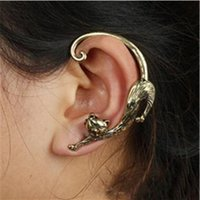 ingrosso orecchini del polsino animale-Orecchino a perno placcato in oro placcato in oro con polsino dell'orecchio con orecchino a forma di rocca