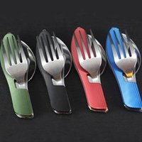Wholesale Wholesale Knife Kit Sales - Stainless Steel Camping Dinnerware Multi Function Foldable Tableware Knife Fork Spoon Dishware Popular Factory Direct Sale 5 7hh B