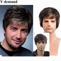 Wholesale Mens Wigs Short - Fashion Mens Male Wig Handsome Vogue Short Grey Straight Wigs For African American Full Wigs None Lace Hair In Stock Y demand