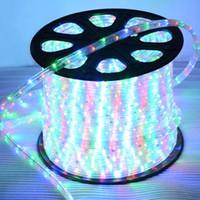 освещение с гибкой светодиодной подсветкой оптовых-12 В 24 В Ø13 мм RGBY цвет двух проводов 36LED / M трубка веревки светодиодные полосы света Круглые неоновые полосы света Led гибкие светильники декор
