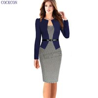 Wholesale Office Fashion Outfit - COCKCON Fashion Women Retro Vintage Faux Two Piece Dress Elegant Lady Plaid Long Sleeve Pencil Dress Office Wear Outfits 150104