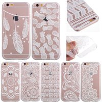 Wholesale Iphone 5c Silicone - Case For iPhone 6 6S Plus 5 5S SE 5C 6Plus 7 Transparent Cases White Floral Paisley Flower Mandala Silicone Soft Phone Cover