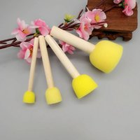 Wholesale round wooden handle brush - Sponge Foam Brushes Children Graffiti Round Stencil With Wooden Handle Seal Brush Art Crafts Painting Material Tool 1 5nx F R