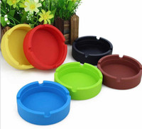 Wholesale Cigarette Ash Trays - Colorful Ashtray Heat-resistant Silicone ashtrays for Home novelty crafts for cigarettes ash tray Smoking accessories gadgets