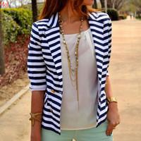 Wholesale Uniform Coat Blazer - Lady Summer 2017 Fashion Striped Blazer Jacket Suit Female Long Sleeve Women Elegant Formal Office Uniform Basic Coat Femme Blue SVH031384