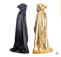 Wholesale Black Cosplay Cloak - Halloween Cloaks Hood Capes Women Men Novelty Black Red Adult Halloween Party Cosplay Costumes Accessory Coat Shawl DHL Free Shipping