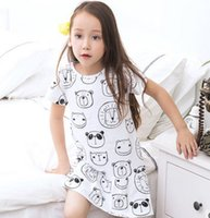 Wholesale Princess Frog Dress - Cute baby girls princess dresses children cartoon bear frog tiger printed dress kids short sleeve cotton A-Line dress children clothes G0047
