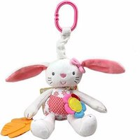 Vente en gros- 0+ Soft Rabbit Baby Plush Doll Baby Rattle Ring Bell Crib Bed Hanging Animal Toy Teether Multifunction Doll Kids Toy