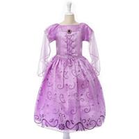 rapunzel cosplay enredado al por mayor-Vestido exclusivo Juego de rol para niños Vestidos enredados Traje de Rapunzel púrpura Fiesta de Halloween Vestido de Cosplay bebés envío gratis