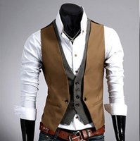 Wholesale Cheap Slim Blazers - Wholesale- Faux Two Pieces Mens Formal Work Sleeveless Jacket Men Slim Fit Cheap Vests For Men Sleeveless Blazer Vest Male Black Brown