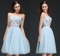 Wholesale Cheap Strapless Corset Dresses - Light Sky Blue Cheap Homecoming Dresses with Petal Power Corset Back Tulle Sweet 16 Graduation Dress Formal Party Wear CPS659