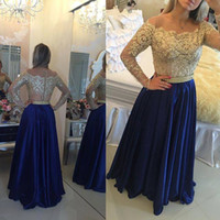 Wholesale Long Sleeved Satin Prom Dresses - 2017 Long Sleeved Evening Gowns Gold Lace Blue Satin A-line Fashion Prom Dresses Vestidos De Noche