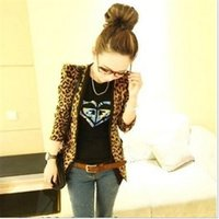 Wholesale Padded Shoulders Ladies Jackets - Spring 2016 Sexy & Fashion Women's Clothing Shoulder Pads Leopard Jacket Coat Lady Slim Blazer Suit Outerwear