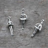 Wholesale Wholesale Ballerina Charms - 20pcs--Ballerina Charms, Antique Tibetan Silver Mini 3D Ballet Dancing Girl Charm Pendants 25x10mm