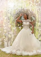 vestido de novia corto iglesia al por mayor-Vestidos de novia de cuello alto Vestidos de novia Perlas de cuentas 2018 Manga corta Primavera Iglesia Vestidos de novia para la boda