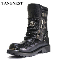 Wholesale Martin Style Combat Boots - Retro Combat Boots Winter Plush British Style Leather Military Boots Belt Buckle Charm Low Heels Lace Up Men Boots