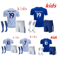 Wholesale Green Football Socks - AAA+ quality 2017 2018 NEW kids KITS WITH SOCKS Chelsea soccer Jersey FABREGAS HAZARD DIEGO COSTA KANTE 17 18 child youth Football Shirt KIT