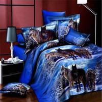 Wholesale Leopard Bedding Queen Size - 3D Animal Bedding Set Queen Size Wolf Tiger Panda Leopard Duvet Cover Bed Sheet Set 4PCS Beddings Hot Sale Bedclothes