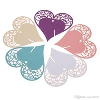 Wholesale Table Deco For Weddings - 50pcs Heart-shape DIY Place Escort Wine Glass Cup Paper Card for Wedding Party Home Decorations 5 Colors Name Cards Table Deco