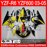 siyah sarı r6 toptan satış-8Gifts 23 Renk YAMAHA YZF R 6 YZF-R600 YZF 600 YZF-R6 03-05 Sarı siyah 56HM15 YZF600 YZFR6 03 04 05 YZF R6 2003 2004 2005 Fairing