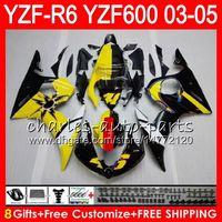 ingrosso giallo nero r6-8Gifts 23Color Body Per YAMAHA YZF R 6 YZF-R600 YZF 600 YZF-R6 03-05 Giallo nero 56HM15 YZF600 YZFR6 03 04 05 YZF R6 2003 2004 2005 Carena