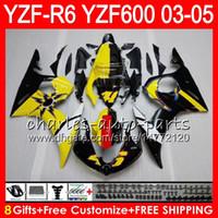 preto amarelo r6 venda por atacado-8Presentes 23Corpo de corpo para YAMAHA YZF R 6 YZF-R600 YZF 600 YZF-R6 03-05 Amarelo preto 56HM15 YZF600 YZFR6 03 04 05 YZF R6 2003 2004 2005 Carenagem