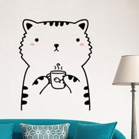 Wholesale Wall Decals Horses - Creative DIY 3D wall sticker horse for kids room Carved Removable kindergarten stickers cute cartoon cat 5 style pvc Decorating Wholesale