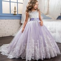 Wholesale Multi Color Beaded Pageant Dresses - 2017 Beautiful Purple and White Flower Girls Dresses Beaded Lace Appliqued Bows Pageant Gowns for Kids Wedding Party