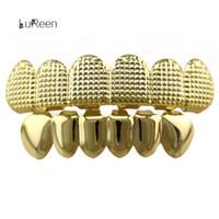 Wholesale Hip Hop Teeth - Lureen 4 Color Gridding 6 Top & Bottom Grillz Teeth Hip Hop Grillz Halloween Gift Body Jewelry