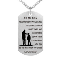 Wholesale Stainless Steel Personalized Necklace - Dad To My Son Dog Tag Necklace - Never Forget I Love You - Personalized Custom Military Dog Tags Pendant Gift