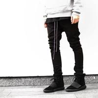 hombres con cremallera cadena al por mayor-Al por mayor- Streetwear Harem pantalones hombres dibujar la cintura elástica de la cintura de los pantalones de Hip Hop apertura de la pierna de la cremallera pantalones masculinos kanye justin bieber pantalones