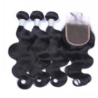 Wholesale Medium Top Hair Piece - Top Lace Closure with Hair Bundles Unprocessed Virgin Hair 3 Pieces Body Wave with One Lace Closure Human Hair Wefts with Closure